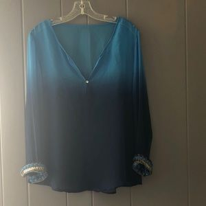 Tops - Sheer ombré blue dyed sheer blouse
